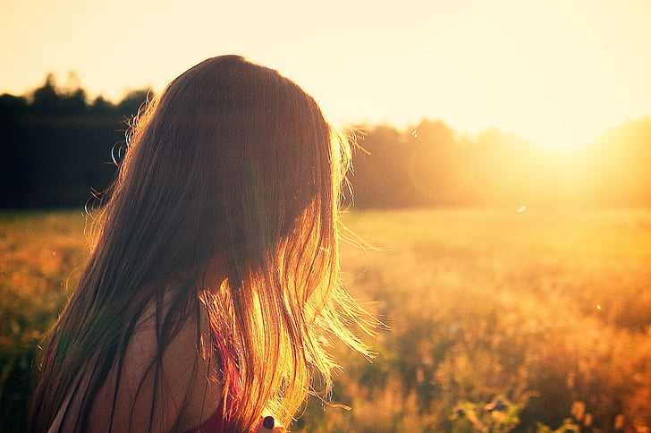 summerfield, woman, girl, sunset, twilight, summer, field