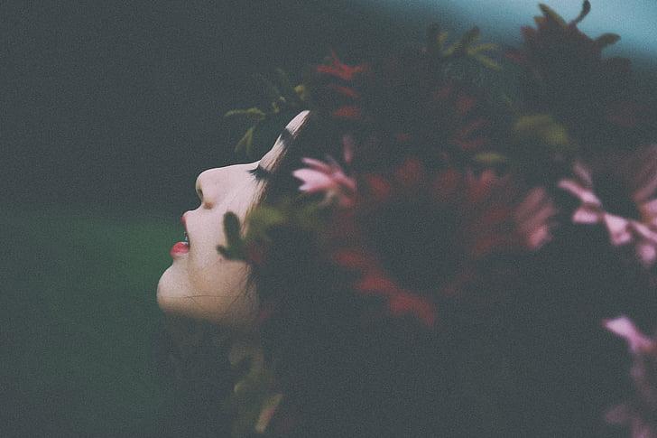 사람들, 여자, 아름다움, 꽃, 레드, 꽃잎, 자연