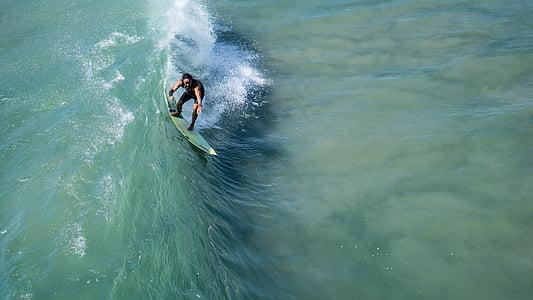 surfista, ona, oceà, navegar per, surf, l'aigua, Mar
