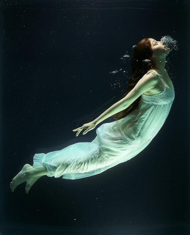 zem ūdens, modes, sieviete, palielināta, ūdens, tvertne, tēlotājas mākslas