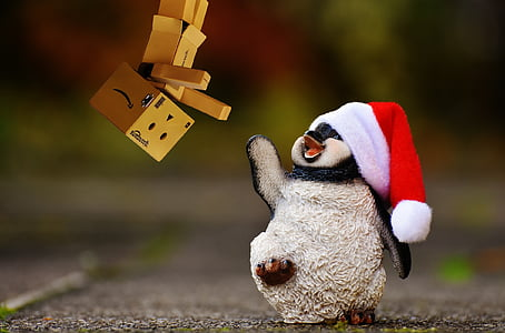 пингвин, danbo, фигура, Коледа, Дядо Коледа шапка, декорация, Смешно