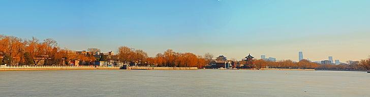 Panorama, shichahai, jeseň
