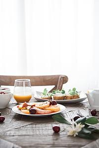 roog, toidu, puuviljad, jahu, plaadid, Tabel, Hommikusöök