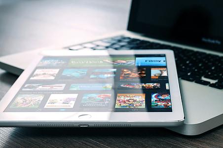 MacBook, iPad, Oficina, ordinador, comprimit, Poma, pantalla
