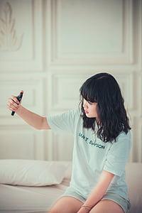 chica, dormitorio, selfie, mujer, moda, estilo, modelo