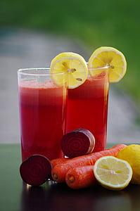 batut, fruita, verdures, pastanagues de remolatxa amanida, llimona, begudes, salut