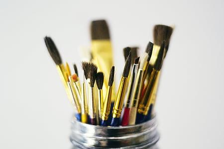 ศิลปะ, ศิลปะและหัตถกรรม, แปรง, อย่างใกล้ชิด, งานฝีมือ, ความคิดสร้างสรรค์, แปรงทาสี