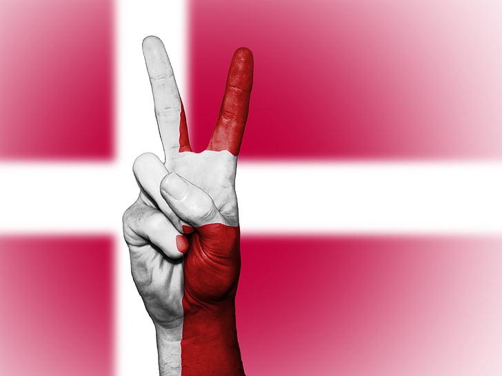 Dinamarca, Pau, mà, nació, fons, Banner, colors