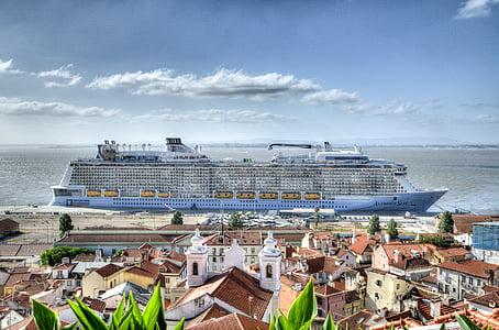 båt, kryssningsfartyg, lyx, havet, Seashore, turism, resor
