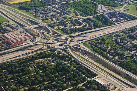 ariel, view, panorama, panoramic, highways, city, urban