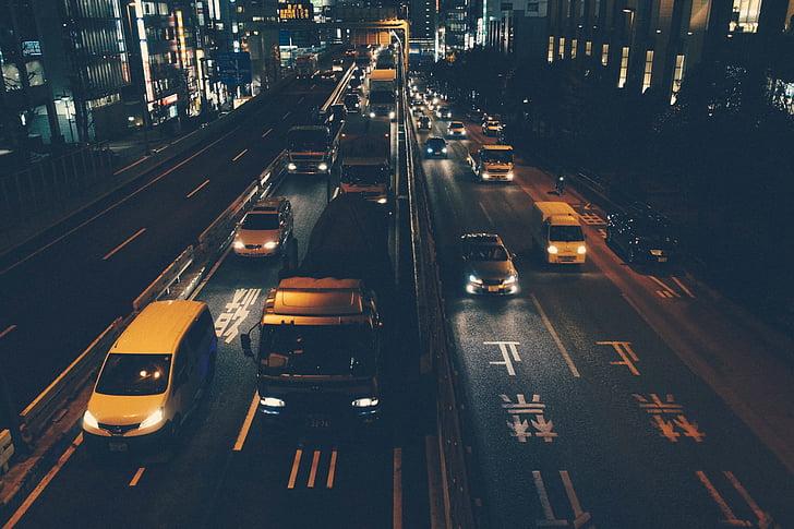 trànsit, cotxes, camions, carreteres, carrers, nit, fosc