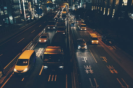 traffic, cars, trucks, roads, streets, night, dark