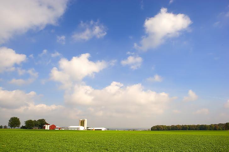 ohio, farm, rural, sky, clouds, fields, landscape
