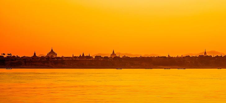 Bagan, Mjanmarsko, chrám, tehly, Pagoda, Barma, Ázia