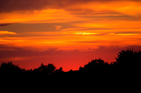 céu da noite, pôr do sol, arrebol, nuvens, abendstimmung, natureza, farbenpracht
