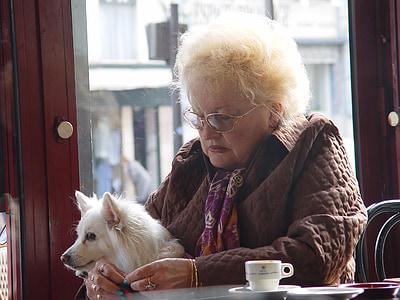 woman, dog, coffey, coffee shop, sad woman