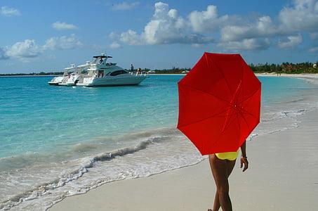 woman, girl, beach, red