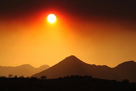 bakgrundsbelyst, moln, Dawn, öken, skymning, kvällen, dimma