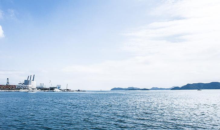 Shenzhen, Das Meer, Hafen, blauer Himmel, White cloud