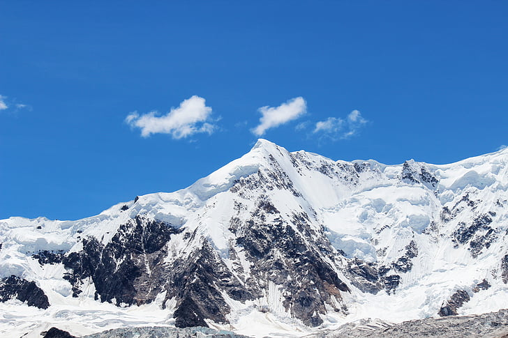 blue sky, snow mountain, mountain, blue sky and white clouds, plateau, snow, nature