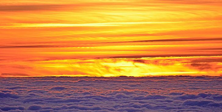 pôr do sol, sol, Crepúsculo, nuvens, cores, luz, fogo