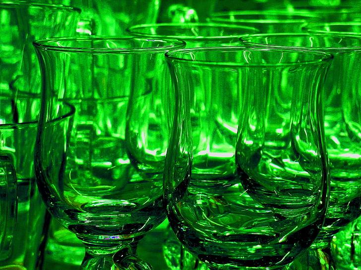 メガネ, teegläser, ドリンク, 温かいお飲み物, グラス, カラフルです, グリーン