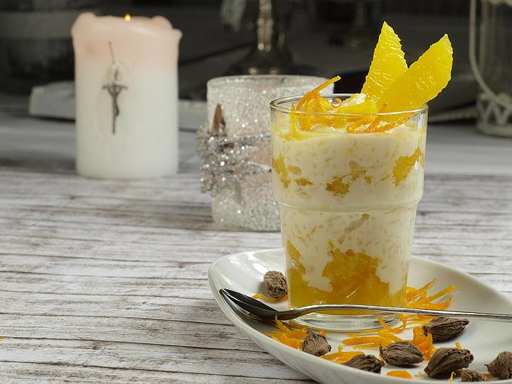 dessert, sinaasappelen, heerlijke, fruit, voeding, eten, voedsel