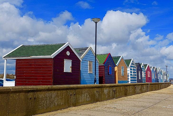 huts, beach, colourful, england, seaside, coast, vacation