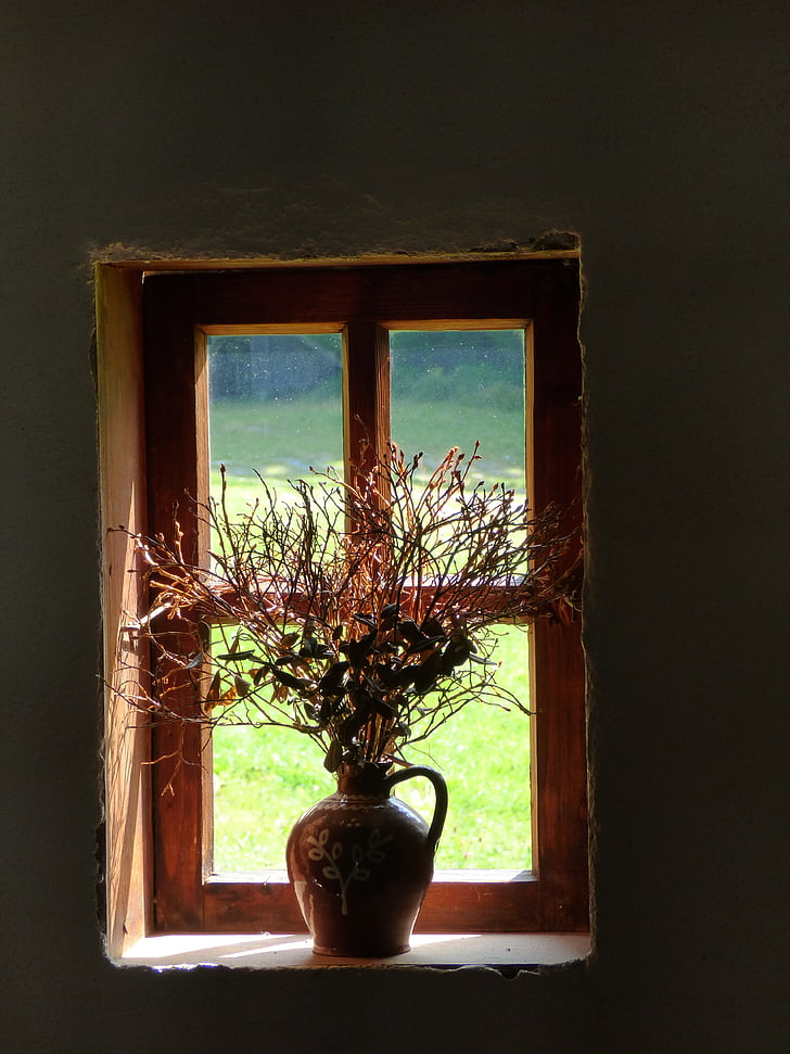 window, old, still life, country side, vase, dry flowers