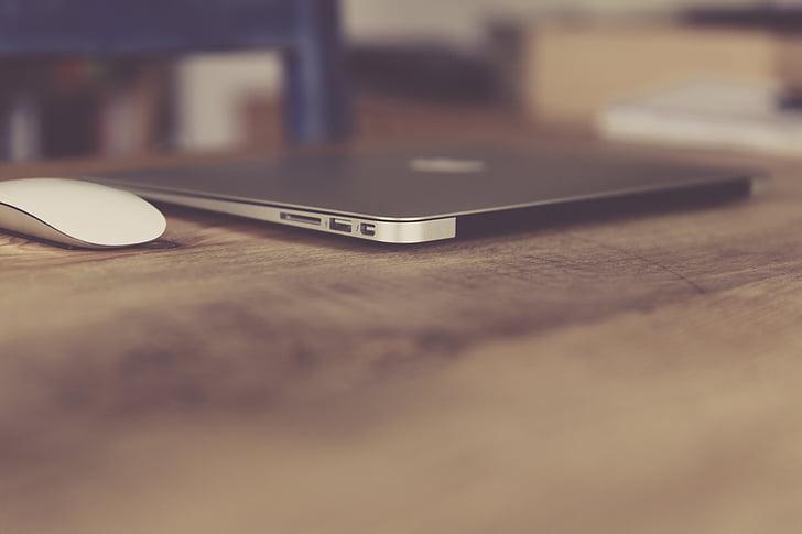 Jablko, počítač, psací stůl, přenosný počítač, MacBook air, technologie