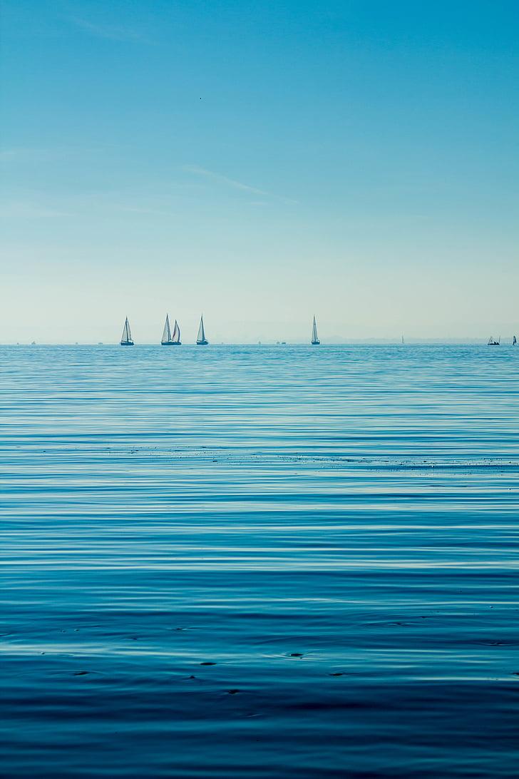 blå, båtar, Ocean, segelbåt, segelbåtar, havet, Seascape