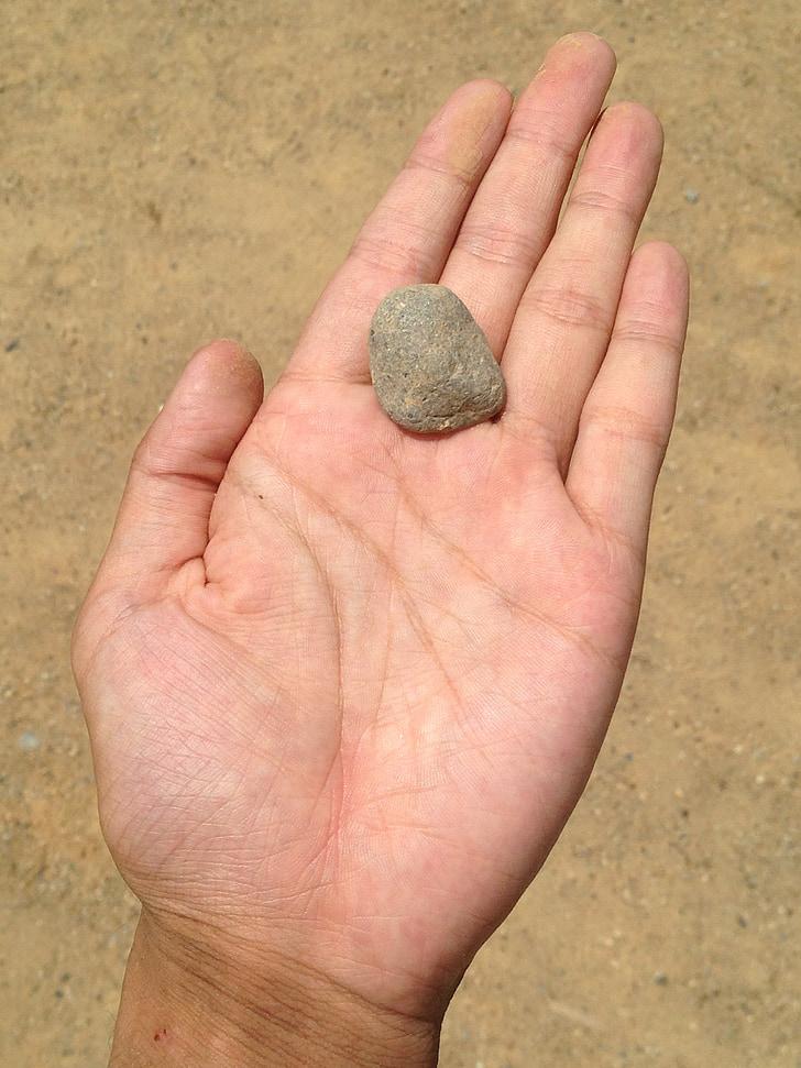 hand, steen, zand, zandbak, Palm, vinger, jonge