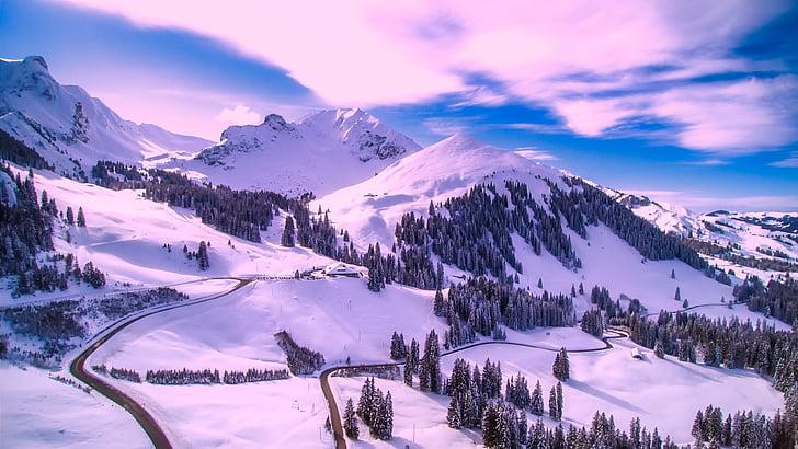 Inverno, neve, céu, nuvens, paisagem, cênica, floresta