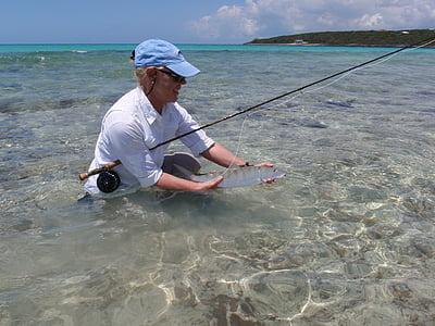 bone fish, fly fishing, bahama, bone-fish, woman, person, fishing rod