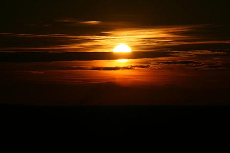 solnedgång, solen, Sky, molnet, röd, på kvällen, naturen