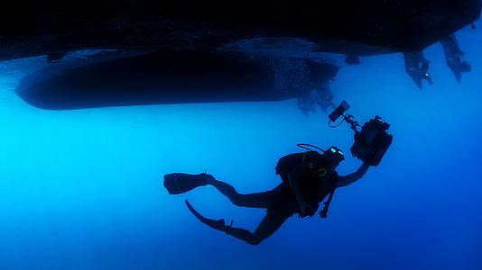 дайвер, океан, людина, море, підводний, води, підводне плавання