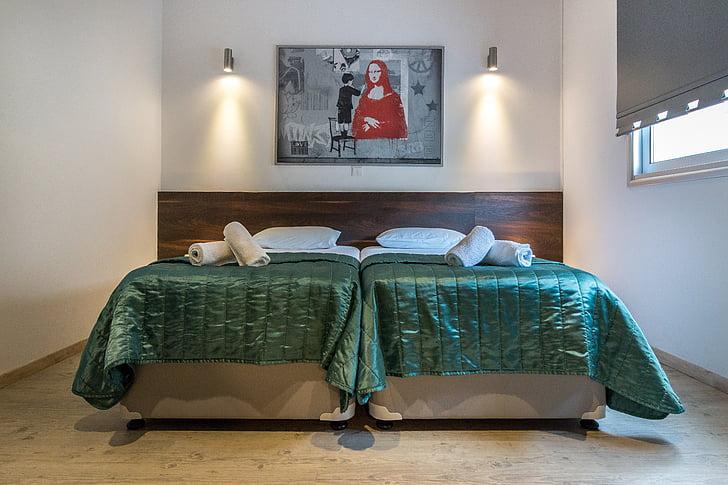 yatak odası, otel, iç, lüks villalar, Turizm, tatil, Kıbrıs