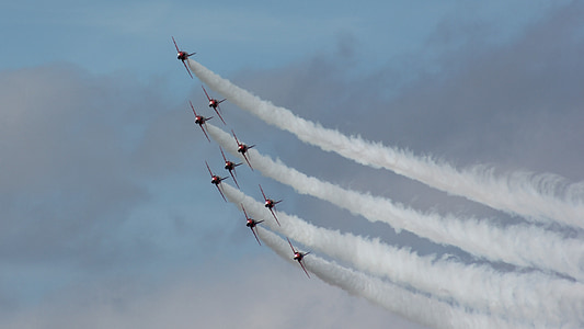planes, red arrows, display, show, entertainment, aeroplane, vehicle