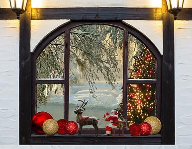 Nadal, arbre de Nadal, finestra, adorn de Nadal, ornaments de Nadal, decoració de Nadal, Nadal llaminadura