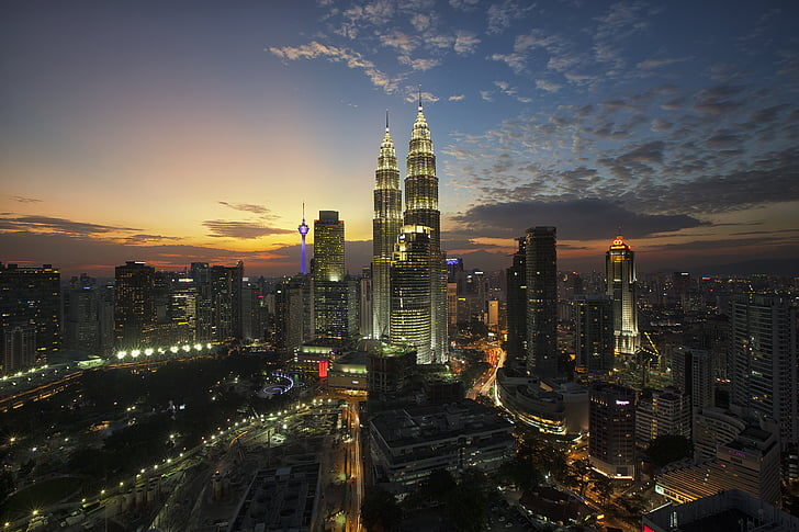 architecture, buildings, city, cityscape, clouds, kuala lumpur, lights