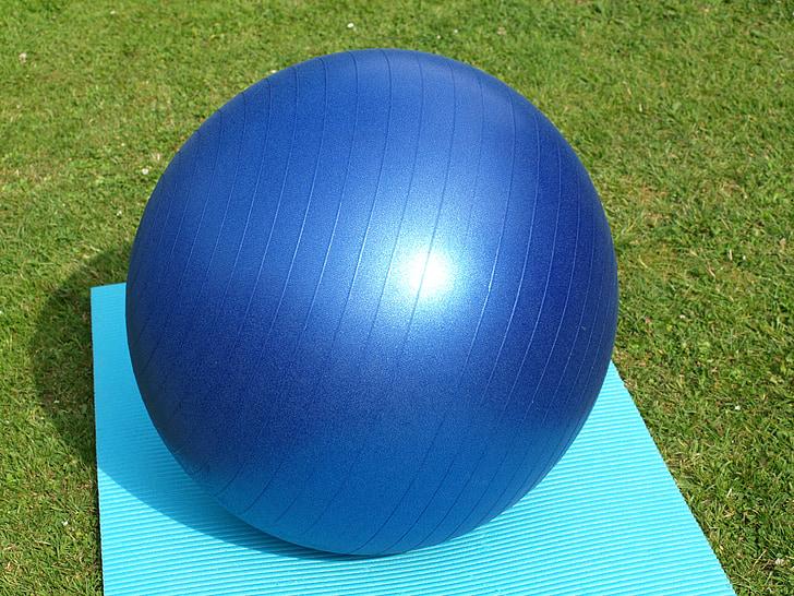 bolas de exercício, grande, azul, ginástica, ioga, desporto, aptidão