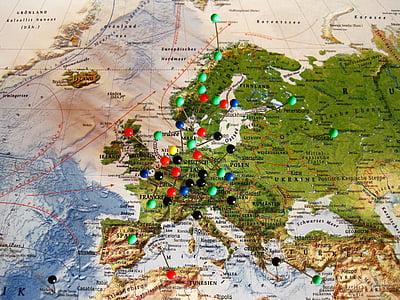 destinacions de viatges experimentats, mapa d'Europa, mapa, agulles de cap, país, viatges, vacances
