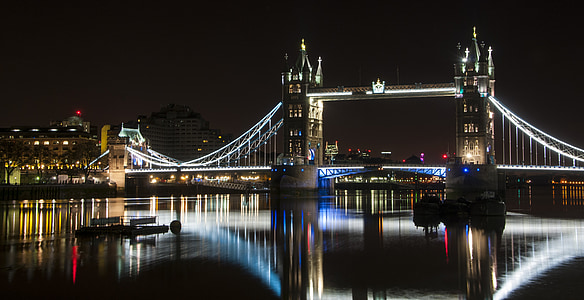london bridge, night, london, bridge, england, river, architecture