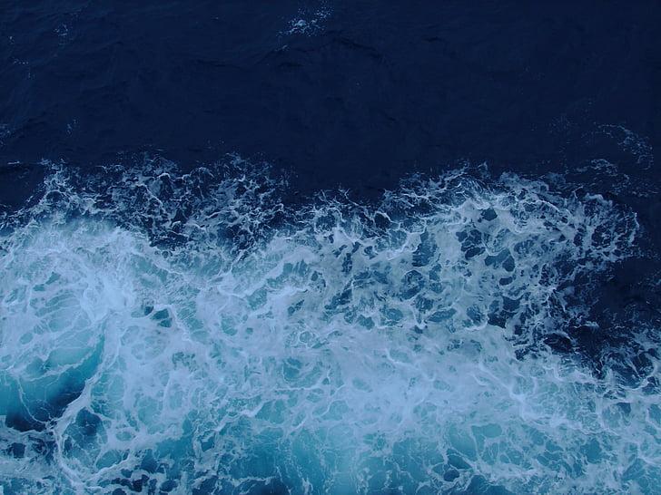 óceán, megszakító, kék, víz, Splash, whitecap, hullám