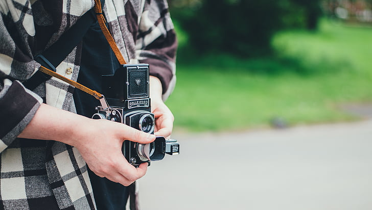 kamero, oseba, fotograf, taking fotografija, fotoaparat - fotografske opreme, na prostem, oprema