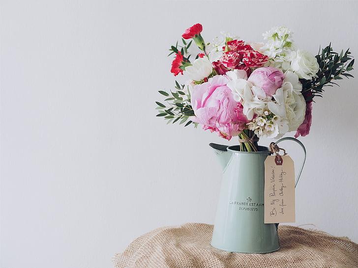 maceta, flores, regalo, ramo de la, decoración, florero de, flor