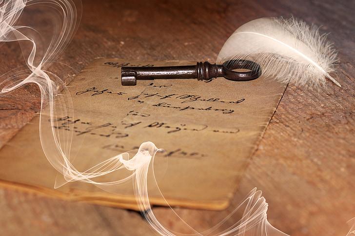 chữ cái, cũ, đồ cổ, chữ viết tay, chìa khóa, lĩnh vực, gỗ
