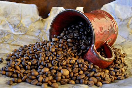 καφέ, Κύπελλο, κόκκους καφέ, Νεκρή φύση, φασόλι, καφεΐνη, καφέ