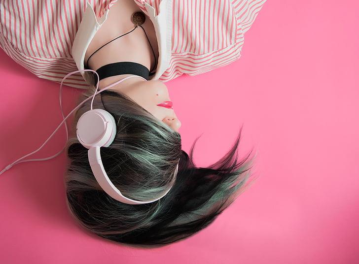 slúchadlá, ľudia, žena, vlasy, Zelená, Hudba, pieseň