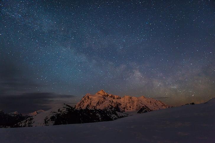 stars, night, mountains, winter, snow, cold, dusk
